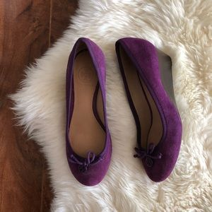 Tory Burch Chelsea Purple Suede Bow Wedge